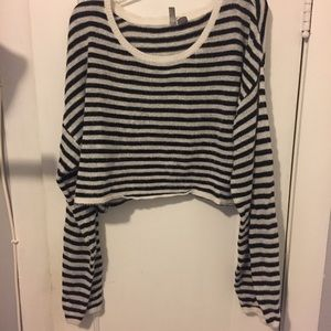 H&M Fuzzy Striped Cropped Sweater